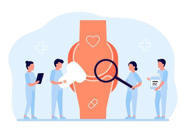 Menselijke gezamenlijke gezondheidszorg arts checkup arts orthopedist doet medische diagnostiek en onderzoek
