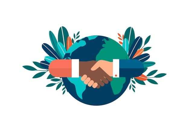 Menselijke hand die de wereldbol vasthoudt, is een symbool van zorg voor het milieu happy earth day