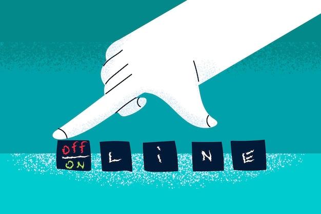 Menselijke hand die dobbelstenen draait en woorden online en offline en concept verandert