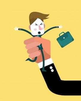 Menselijke hand die kleine zakenman houdt. onderdrukking concept. platte karakterontwerp. vector illustratie