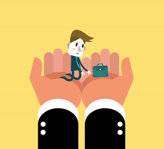 Menselijke hand die kleine zakenman houdt. platte karakterontwerp. vector illustratie