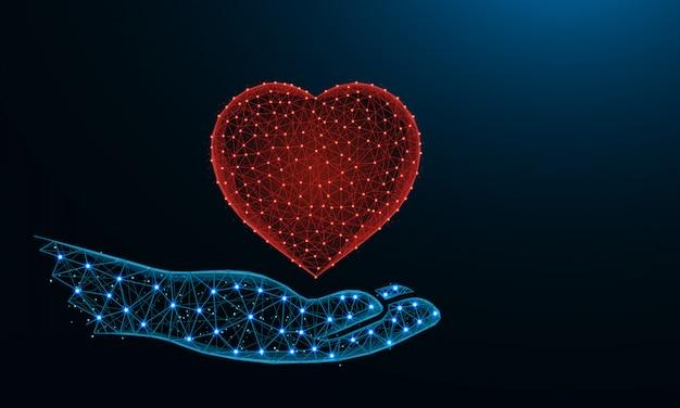Menselijke hand en een laag poly van het hartsymbool