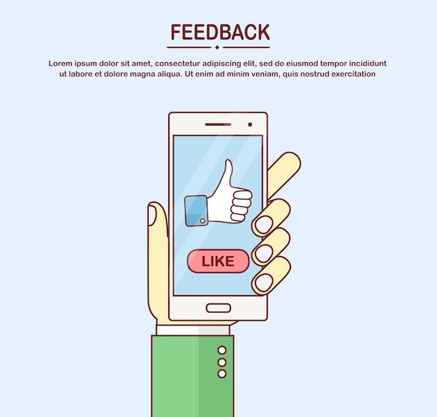 Menselijke hand houdt mobiele telefoon met duimen omhoog teken.