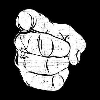Menselijke hand met de vinger die naar u wijst of gebaart