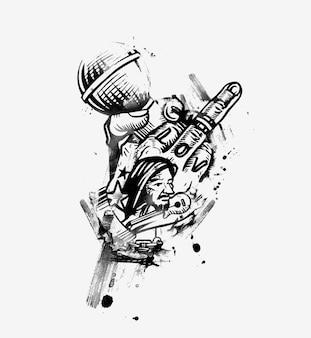 Menselijke hand met microfoon met vinger fuck off belediging negeer gebaar, vectorillustratie. Premium Vector