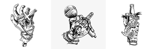 Menselijke hand met microfoon met vinger fuck off belediging negeer gebaar vectorillustratie