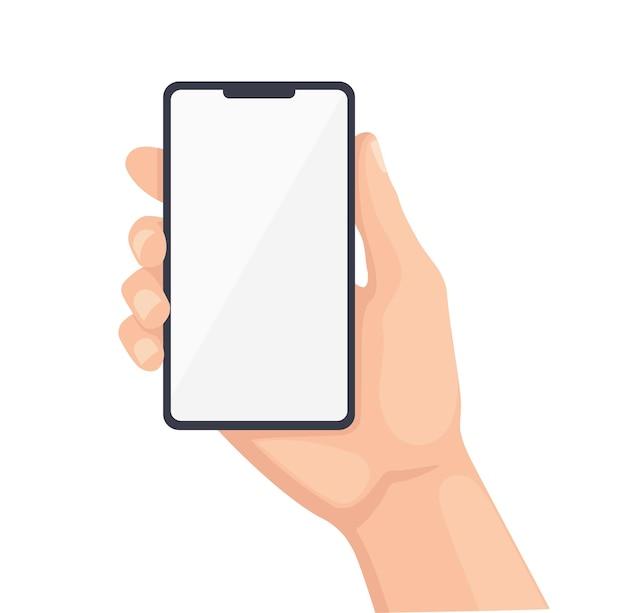 Menselijke hand met mobiele telefoon