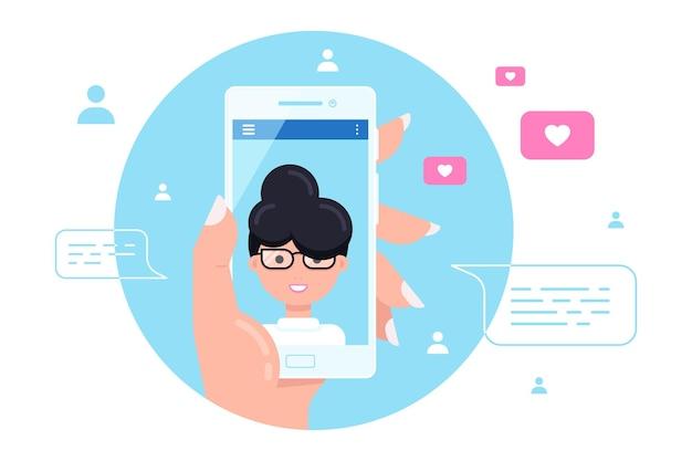 Menselijke hand met smartphone met vrouwelijk karakter op scherm. video-oproep, online videochatten