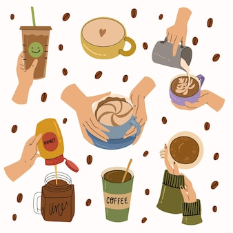Menselijke hand met verschillende koffiekopjes en mugsbarista gezellige vector hand getekende illustratie