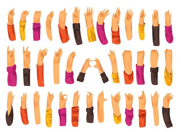 Menselijke hand met verzameling tekens en handgebaren - ok, liefde, groeten, wuivende handen, telefoon en app-bediening met vingers, vuist omhoog.