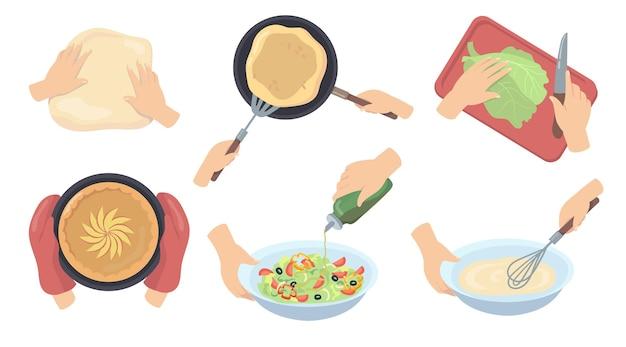 Menselijke handen bereiden van voedsel platte set