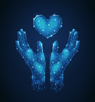 Menselijke handen die futuristische de samenstelling abstracte vectorillustratie van hart luminescent veelhoekige wireframe bewaken