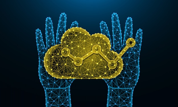 Menselijke handen en cloudanalyse laag poly