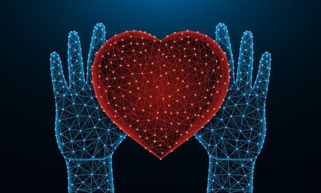 Menselijke handen en een laag poly laag hartsymbool