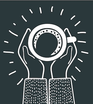 Menselijke handen houden een kopje koffie vast