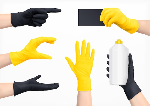 Menselijke handen in beschermende handschoenen van zwarte en gele kleuren realistische set geïsoleerde illustratie