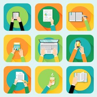 Menselijke handen instellen bedrijf aanraken mobiele telefoons computer en kantoorbenodigdheden concept vector illustratie