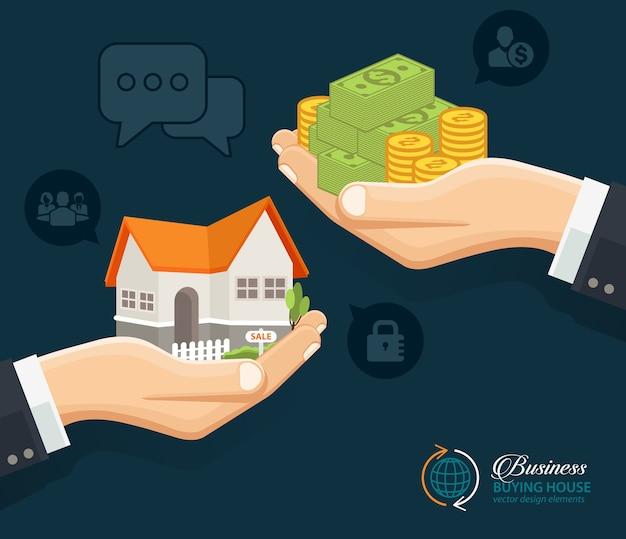 Menselijke handen met geld en het bouwen van huis
