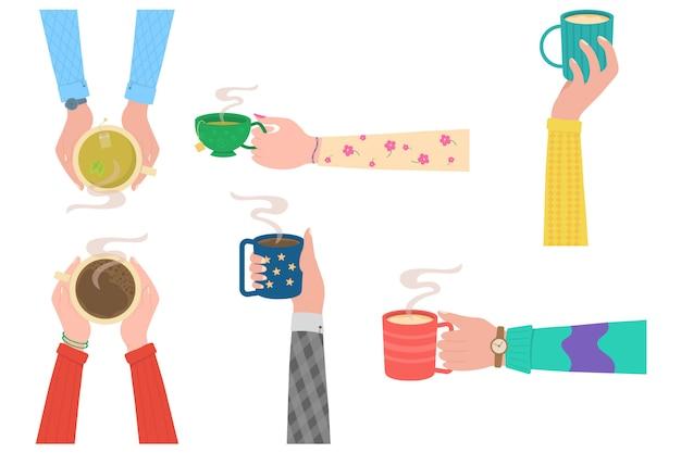 Menselijke handen met kopje thee mok. menselijke handen met kopjes of mokken met warme dranken, platte cartoon illustratie geïsoleerd op een witte achtergrond. koffietijd, koffiepauze concept.