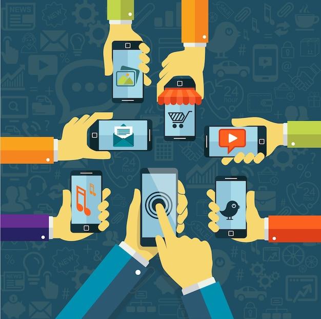 Menselijke handen met mobiele telefoon, apps concept
