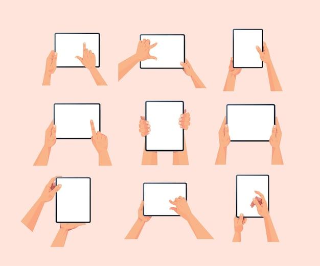 Menselijke handen met tablet-pc met leeg touchscreen instellen met behulp van digitaal apparaatconcept