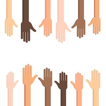 Menselijke handen met uitgestrekte palm