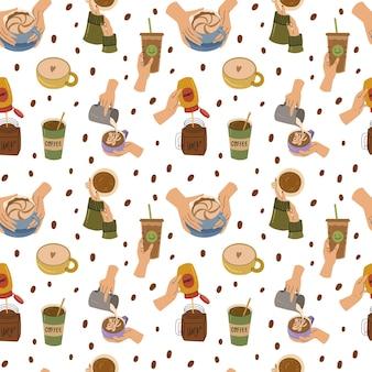 Menselijke handen met verschillende koffiekopjes en mokken naadloze patroon gezellige vector hand getrokken