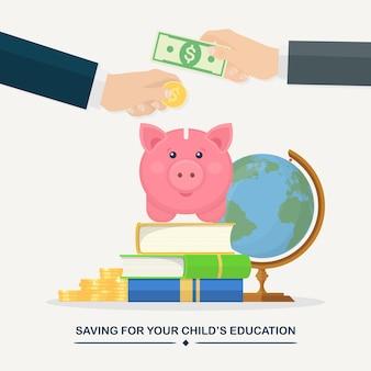 Menselijke handen zetten gouden munten, contant geld in spaarvarken. onderwijs investeringen concept. stapel boeken, bol en geldbesparingen