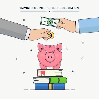 Menselijke handen zetten gouden munten, contant geld in spaarvarken. onderwijs investeringen concept. stapel boeken en geldbesparing voor studie