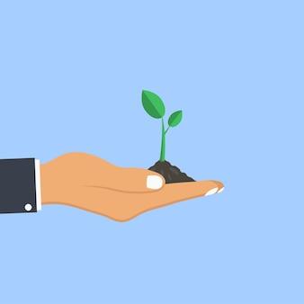 Menselijke handpalm houdt plant vast. concept van het planten van jonge boom. vector illustratie.