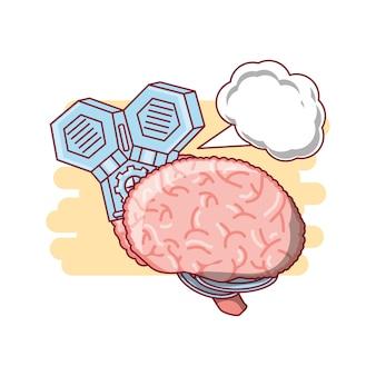 Menselijke hersenen machine met pictogram spraak zeepbel