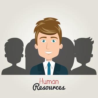 Menselijke hulpbronnen karakter man elegant met pak. silhouet
