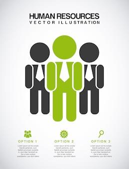 Menselijke hulpbronnen over grijze achtergrond vectorillustratie