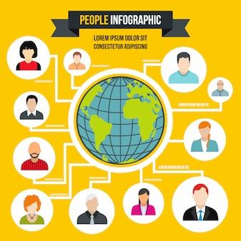 Menselijke infographic in vlakke stijl. mensen infographic voor elk ontwerp