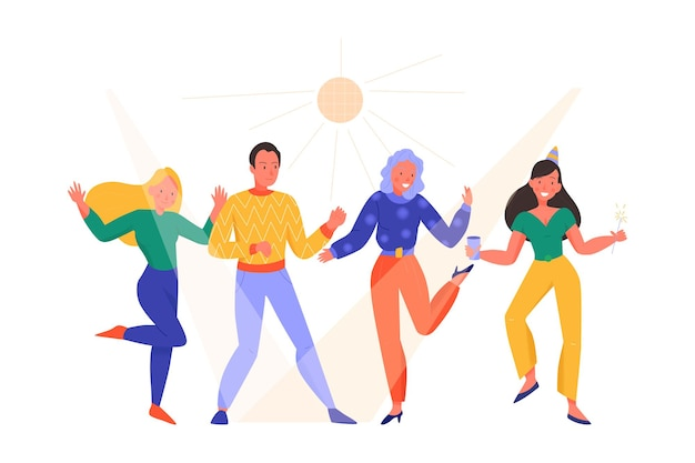 Menselijke karakters dansen op feestje vlakke afbeelding