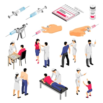 Menselijke karakters tijdens vaccinatie en spuiten met medische producten set isometrische pictogrammen geïsoleerd