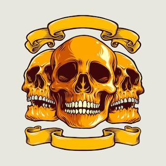 Menselijke kunst schedel illustraties