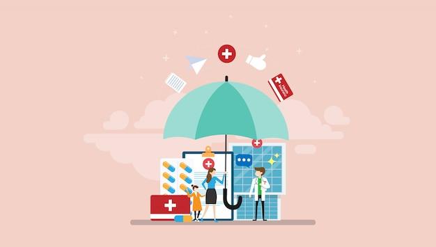 Menselijke levensverzekering kleine mensen karakter concept vectorillustratie