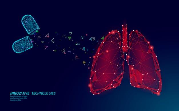 Menselijke longen geneeskunde behandeling concept. ademhalingsvirusinfectie kan gevaar opleveren. pil capsule medicamenteuze therapie tuberculose ziekenhuis poster sjabloon