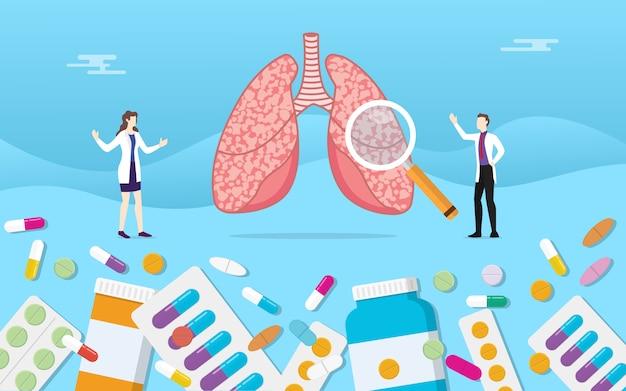 Menselijke longen geneeskunde gezondheid met pillen medicamenteuze capsule behandeling
