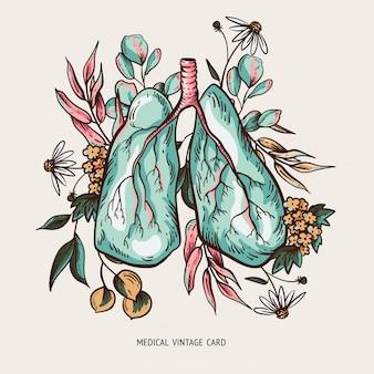 Menselijke longen illustratie met bloemen, bronchiale boom, gezonde longen