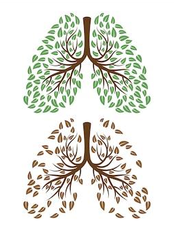 Menselijke longen met gebladerteconcept