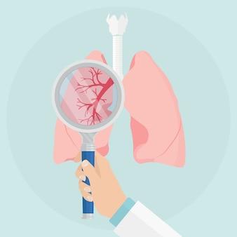 Menselijke longen met vergrootglas op lichte achtergrond. medisch examen. controle van de gezondheid. inspecteer, test. dokter onderzoekt inwendig orgaan. gezondheidszorg.