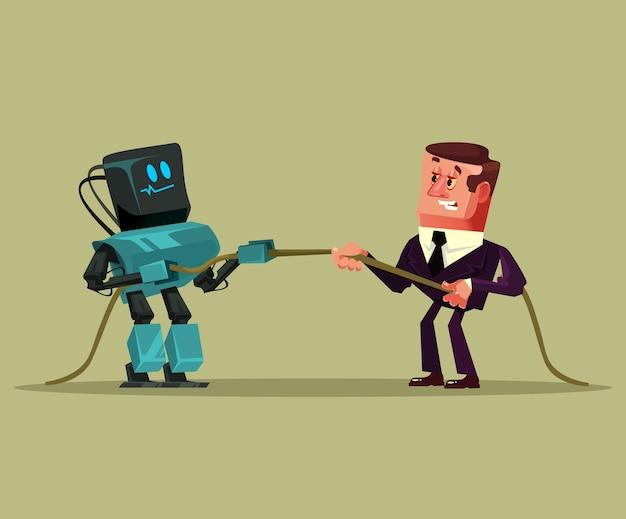 Menselijke man kantoormedewerker manager zakenman vs robot kunstmatige intelligentie