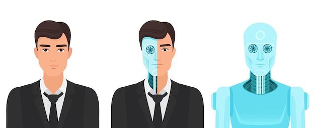 Menselijke man verandert in een robot, voor altijd leven toekomstige realiteit van het concept van de transformatie van medicijnen