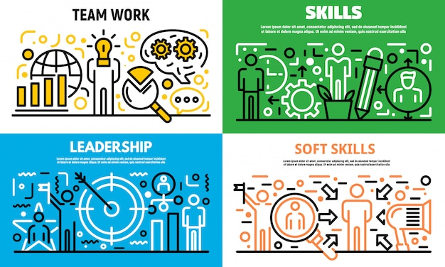 Menselijke managen vaardigheden banner set, kaderstijl