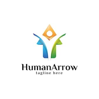 Menselijke mensen en opwaartse pijl-logo