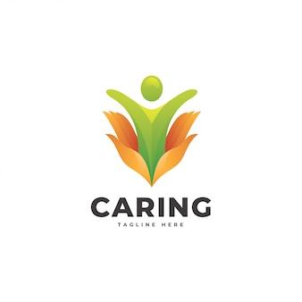 Menselijke mensen en zorg hand logo