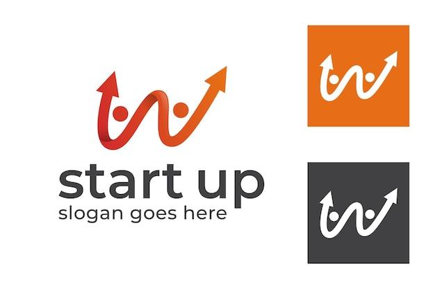 Menselijke mensen zakenman opgroeiende pijl met de eerste letter w voor het opstarten van een bedrijf logo sjabloon