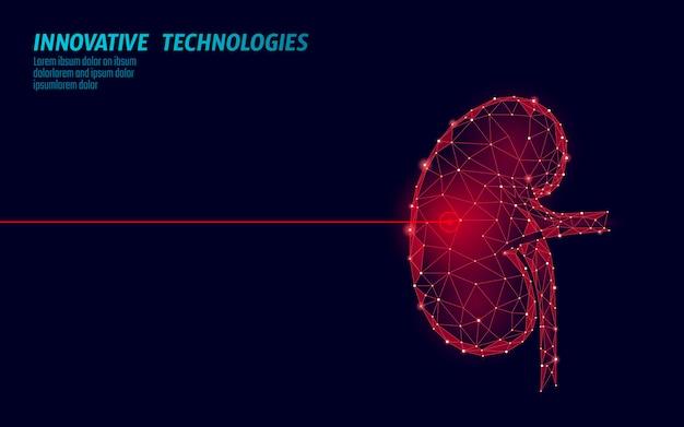 Menselijke nieren laserchirurgie operatie laag poly. geneeskunde ziekte medicamenteuze behandeling pijnlijk gebied. rode driehoeken veelhoekige 3d render vorm. apotheek stenen kanker herstel sjabloon illustratie